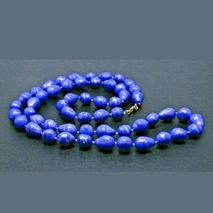 Vintage Blue and Gold Beaded Necklace